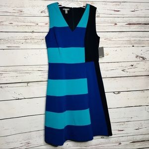 Muse Navy Multi Sleeveless V-Neck Dress